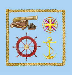 Marine set with nautical objects and rope frame vector