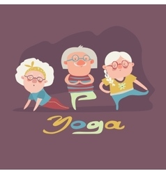 Senior people doing yoga exercise vector image vector image