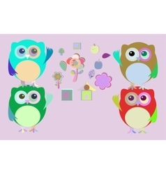 sweet owls and flowers mosaic vector image vector image