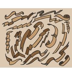Hand drawn ribbon banners set vector image vector image