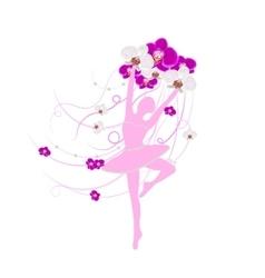 Tender ballerina holding an arrangement of orchid vector image