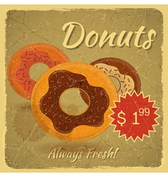 Donuts on grunge background vector image vector image