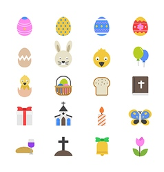 Easter Flat Color Icons vector image