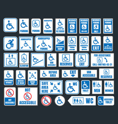 handicap icons parking and toilet signs disabled vector image vector image