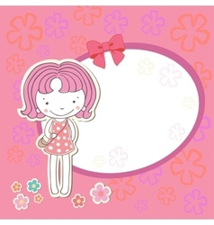 Little girl with flowers vector image vector image
