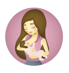 mother nursing baby with breast feeding vector image