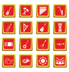 musical instruments icons set red vector image