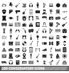 100 conservatory icons set simple style vector