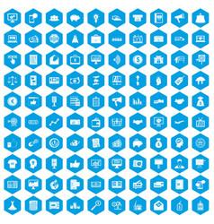 100 e-commerce icons set blue vector