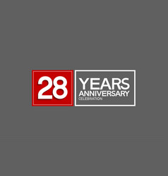 28 years anniversary in square with white and red vector