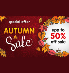 advertising card for autumn sale with lettering vector image