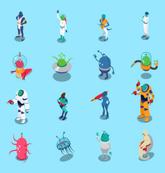 Aliens isometric icons set vector