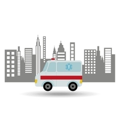 Ambulance vehicle city background design vector