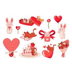 animals with hearts cartoon romantic stickers vector image