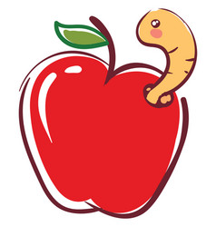 apple worm going out from fruit basic rgb on vector image