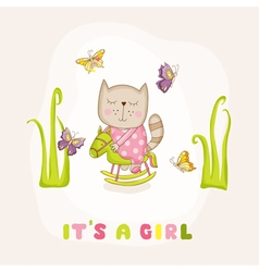 Baby girl cat on a horse - baby shower card vector