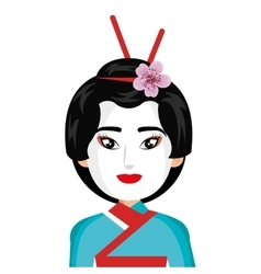Beautiful geisha character icon vector