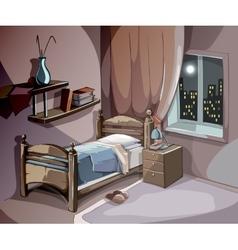 Bedroom interior at night in cartoon style vector image