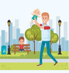 best father in the park characters vector image