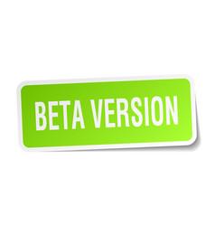 Beta version square sticker on white vector
