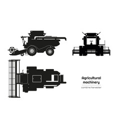 Black silhouette combine harvester vector