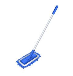 Blue mop icon cartoon style vector