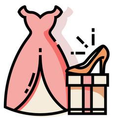 Bride costume set linecolor vector