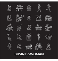 business woman editable line icons set on vector image