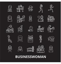 business woman editable line icons set on vector image