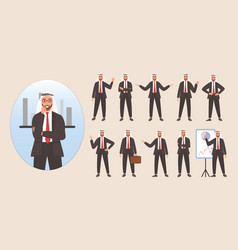 Businessman arab character avatar design set vector