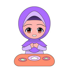 cartoon muslim girl eating daily fun activities vector image