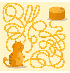cartoon of paths or maze puzzle activity game with vector image
