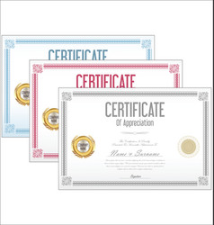 Certificate collection retro design vector
