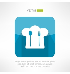 Chief cook hat icon with fork and spoon in modern vector image