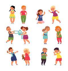children behavior child conflict sad angry kids vector image