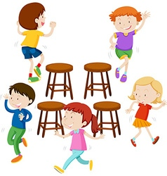 Children playing music chairs vector image