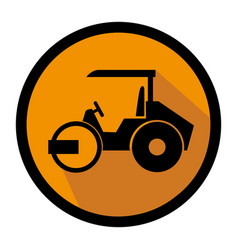 Color circular emblem with road roller vector