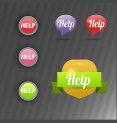colorful website online help buttons design vector image