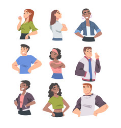 Confident people cheerful young women and men vector