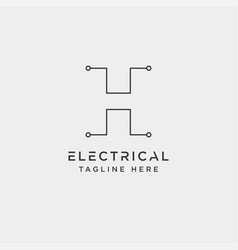 Connect or electrical h logo design icon element vector