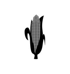 corn cob black silhouette icon organic food vector image