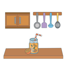 Delicious healthy meal cartoon vector