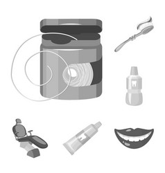 Dental care monochrome icons in set collection vector