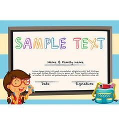 Diploma template with girl and whiteboard vector