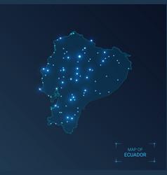 Ecuador map with cities luminous dots - neon vector