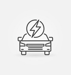 electric car with lightning icon ev vector image