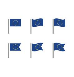 european union flag icons set eu flag symbols vector image