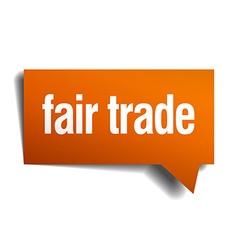 Fair trade orange speech bubble isolated on white vector