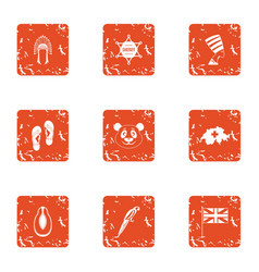 Far east trip icons set grunge style vector
