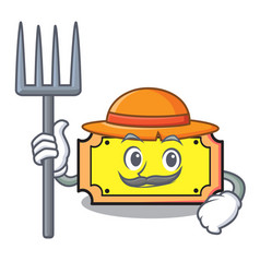 Farmer ticket character cartoon style vector